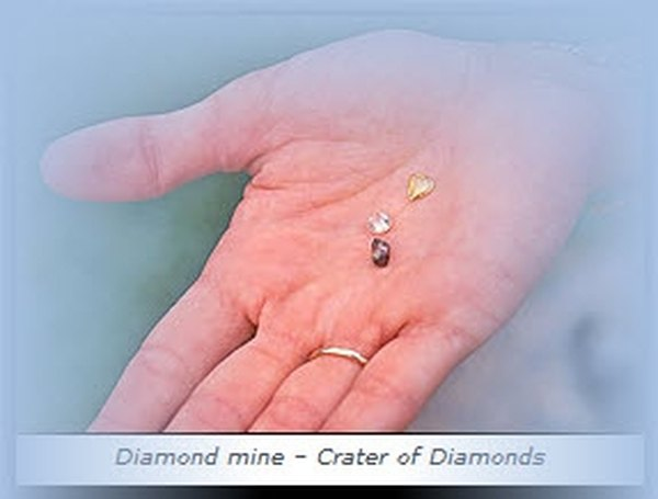 Diamond finds at the Crater of Diamonds in Arkansas. (courtesy Arkansas state park tourism)