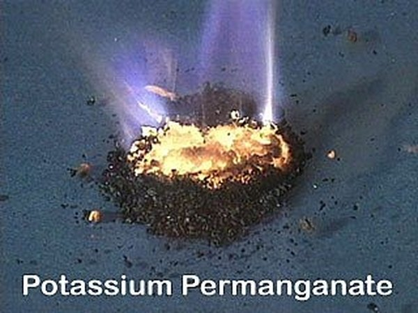 Potassium Permanganate burning by itself