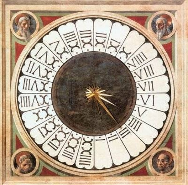 Traditional sundial with Roman numerals.