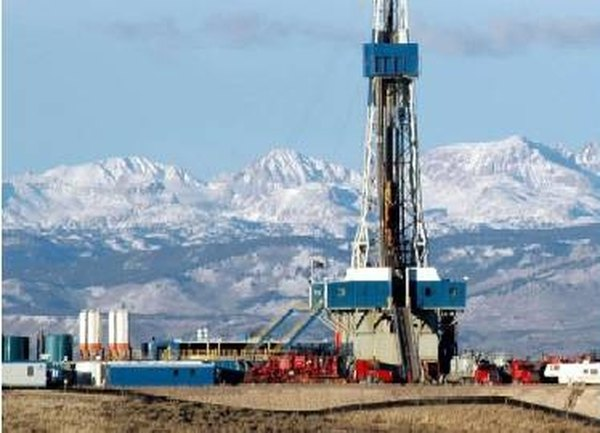 A natural gas drilling rig.