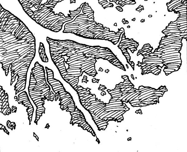 River deltas form from bits broken off of river rocks.