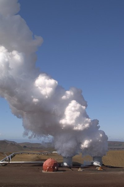 Steam from underground produces power in the desert.