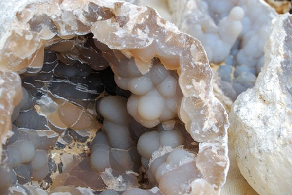 Rock with a vein of crystals.