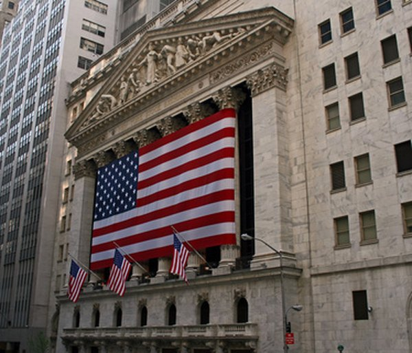 The New York Stock Exchange building on Wall Street in Lower Manhattan