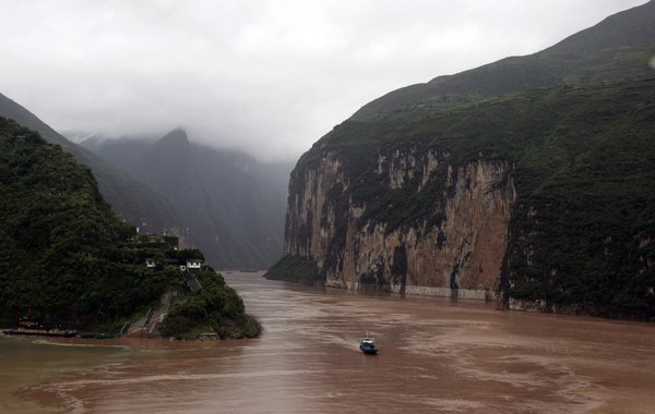 Scenery along the Yangtze River in China before construction of the Three Gorges Dam.