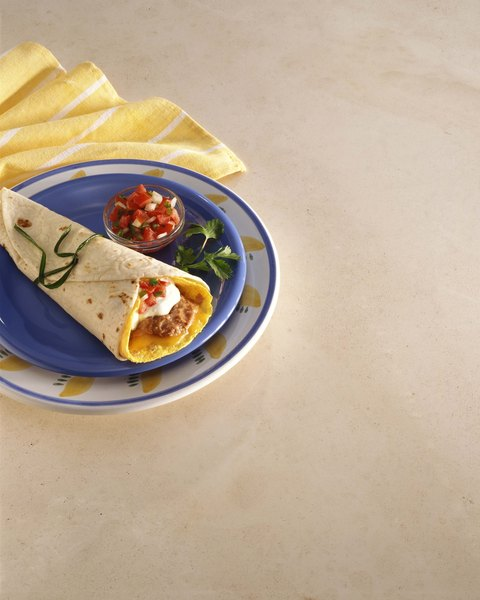 An egg burrito is filling and flavorful.