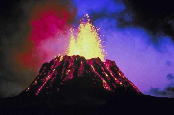 Lava explodes from the Kilauaea volcano in Hawaii.