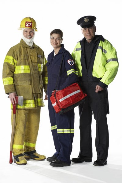 EMTs often work closely with firefighters and police officers.