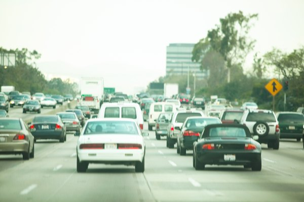 Cities with congested traffic have high amounts of ozone pollution.