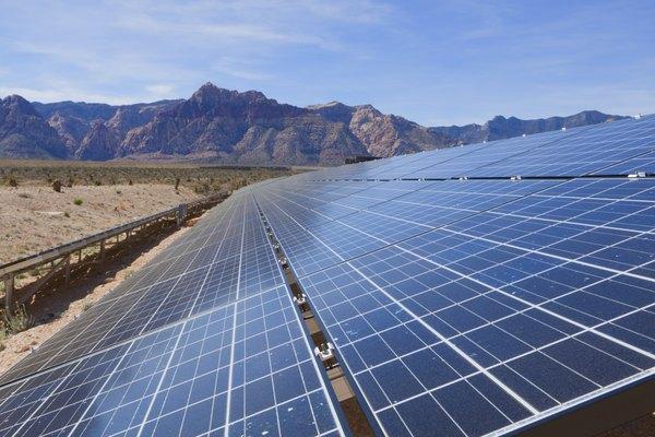 Solar panel array in the Mojave Desert, CA.