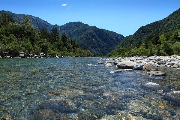 Rocks underneath a river