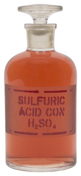 Viscous and oily, sulfuric acid is commonly referred to as battery acid.