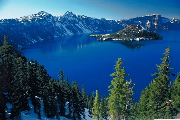 Oregon's Crater Lake is a flooded caldera in the Cascade Range.