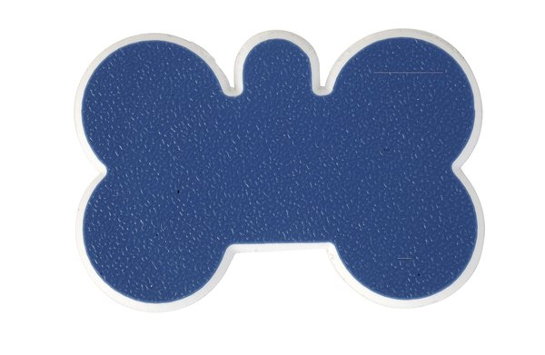 ID tags come in various shapes, such as dog bones and hearts.