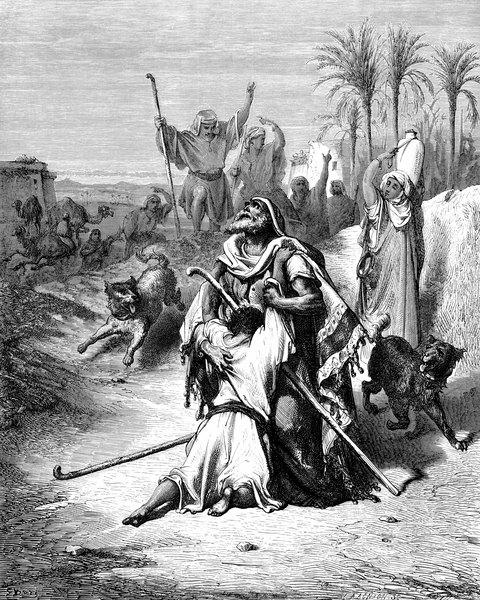Un perro schnauzer aparece en un cuadro titulado El  Regreso del Hijo Pródigo.