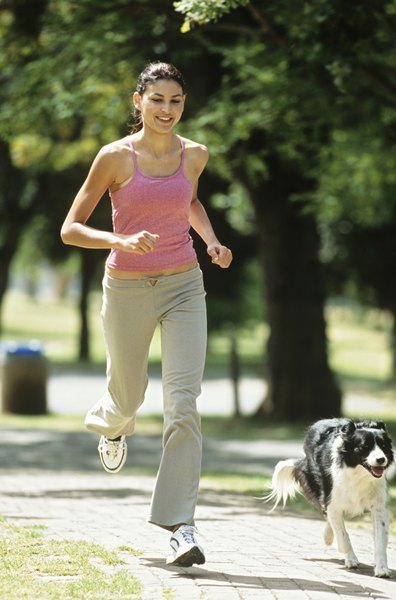 Exercising with your dog keeps his spirits up.