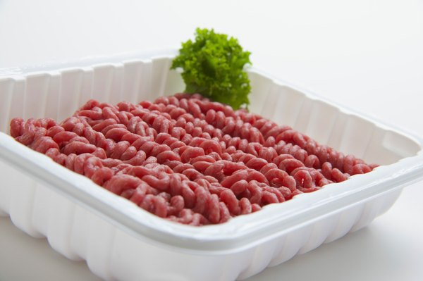 Lean ground beef is commonly red on the surface and brown on the inside.