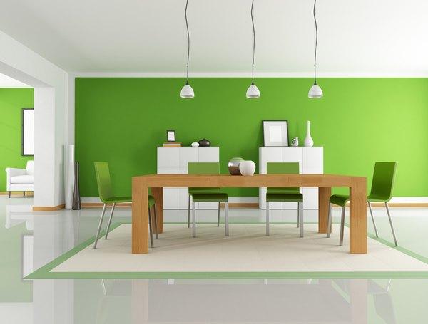 El verde es ideal para la decoración de un comedor.