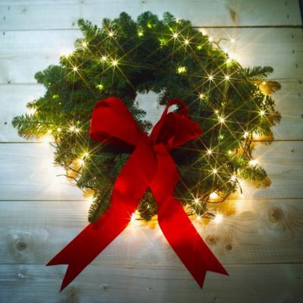 how to decorate a wreath with lights home guides sf gate - Solar Powered Christmas Wreath