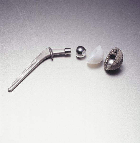 A titanium hip joint.