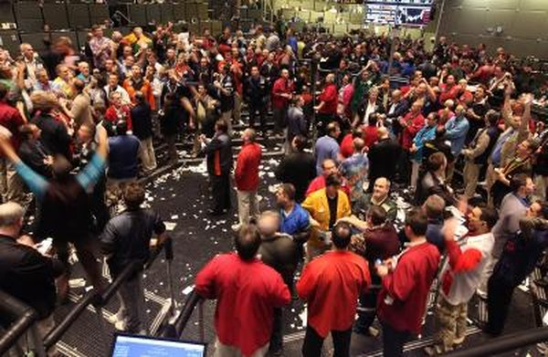 Traders monitor prices in the Standard & Poor's 500 stock index at the Chicago Board Options Exchange.
