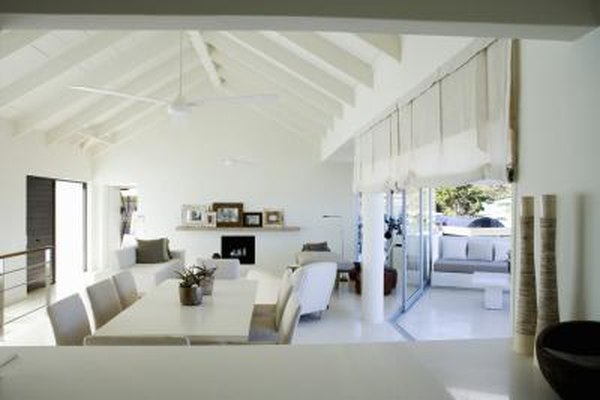 How to Decorate a Vaulted Ceiling in a Combined Dining Living Area Decorating With Vaulted Ceilings In Attic Bedroom Html on