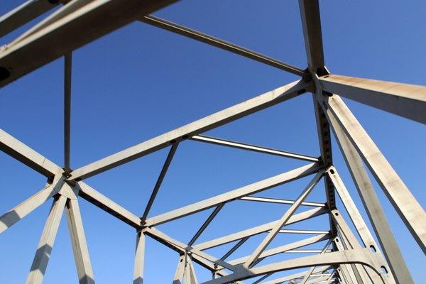 The steel beams of a bridge.