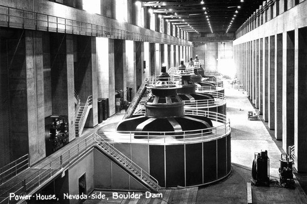 A vintage image of the turbine hall at the Boulder Dam, Colorado.