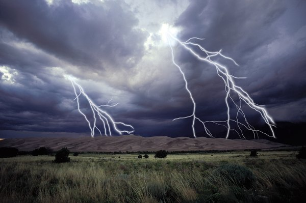 Lightning is a prime cause of grassland fires, along with human beings.