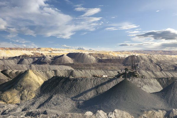 Barite was mined from large open-pit mines.
