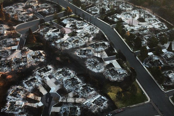 Homes destroyed by the Waldo Canyon fire are seen from the air in a neighborhood on June 30, 2012 in Colorado Springs, Colorado.
