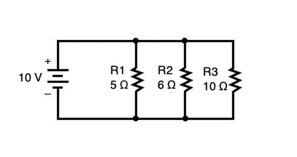 A parallel circuit with branched resistors