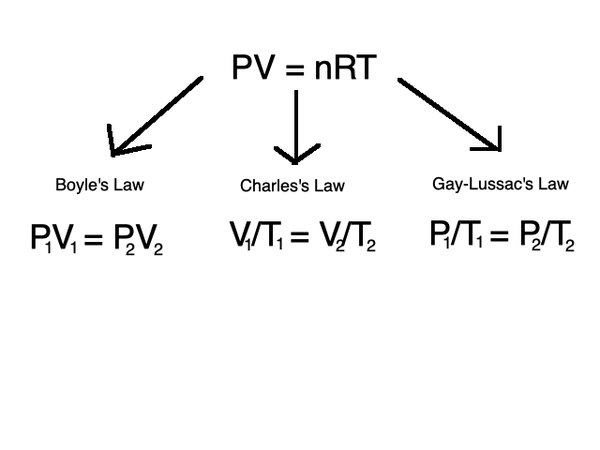 The three gas laws can be related through the ideal gas law.