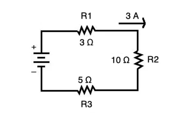 For a series circuit, you calculate voltage using the same principle, but account for the fact that the resistors are arranged in series.