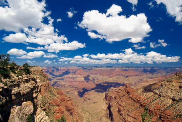 The terrain of the Grand Canyon was formed by erosion over millions of years.