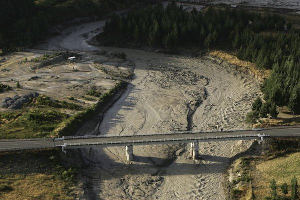 Lahar flows down a riverbed.
