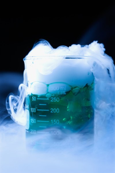 Dry ice is a cold, heavy gas.