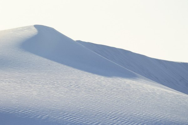 Sand dunes in the White Sands National Monument, New Mexico are weatherd grains of quartz.