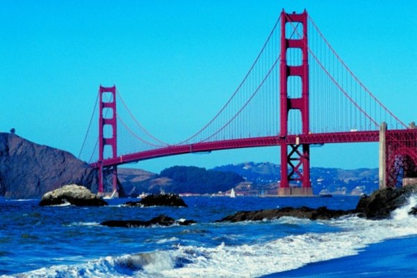 The Golden Gate Bridge over San Francisco Bay is a famous landmark.