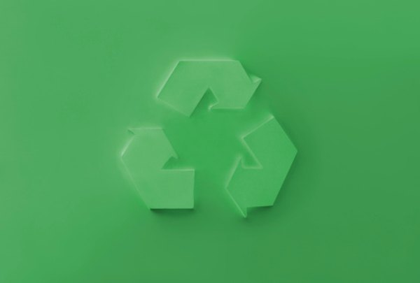 Triangle recycling symbol.