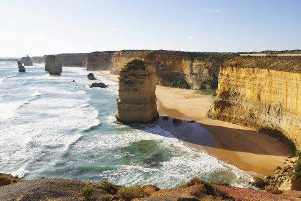 Australian beach, sea cliff and sea stacks.