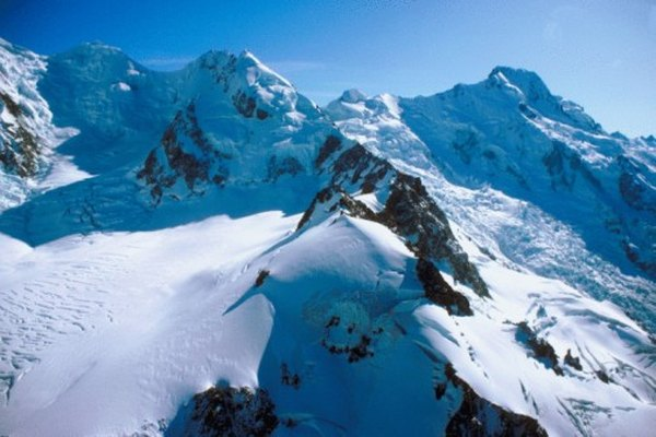 New Zealand's mountains are glacial and volcanic.