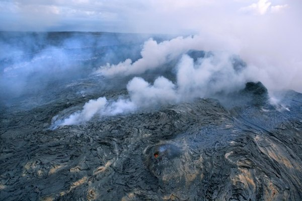 Fumaroles can be found along cracks of a volcano's surface.