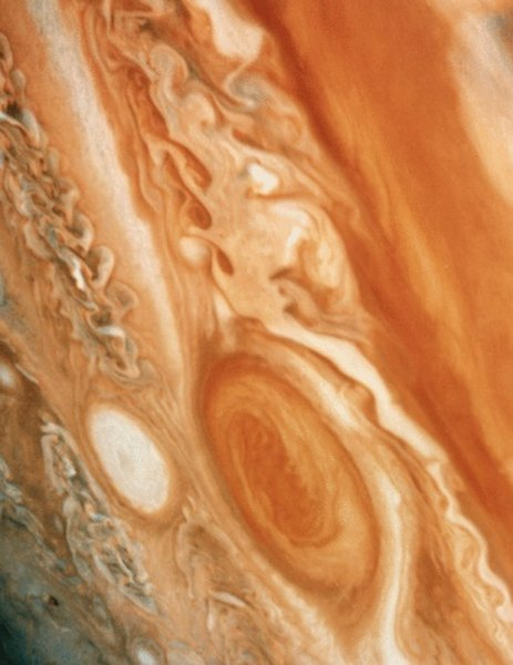 Jupiter's Great Red Spot is a long-lived storm similar to hurricanes on earth.