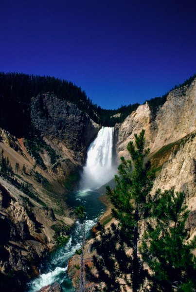 The waterfalls on the Yellowstone River attract millions of visitors.