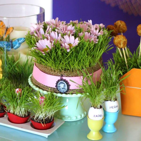 Decore sua mesa com grama