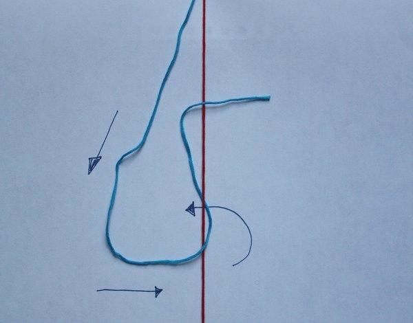 Passe o fio da esquerda por baixo do fio ao lado