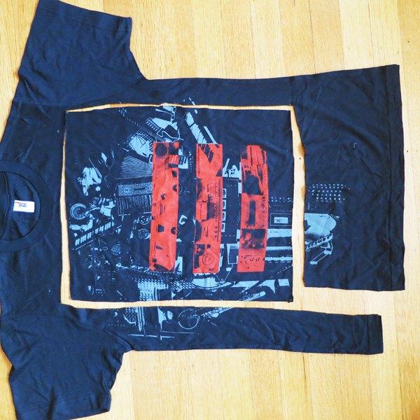 Recorte retângulos de tecido das outras camisetas