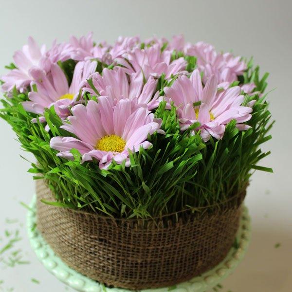 Posicione algumas flores sobre o bolo de grama