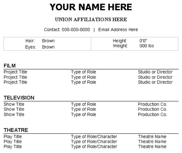 High Quality Career Trend Intended How To Make A Acting Resume